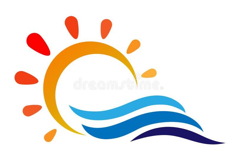 Sun y el mar agitan el logotipo en el fondo blanco ilustración del vector