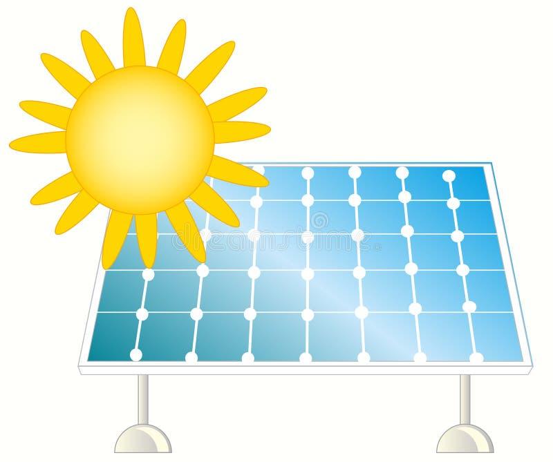 Sun y el panel solar ilustración del vector