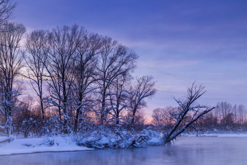 Sun y funcionamiento del cielo Colores de la puesta del sol del invierno imagen de archivo libre de regalías