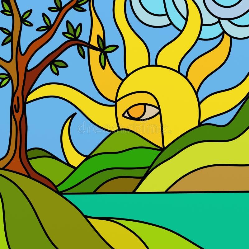Sun y lago ilustración del vector