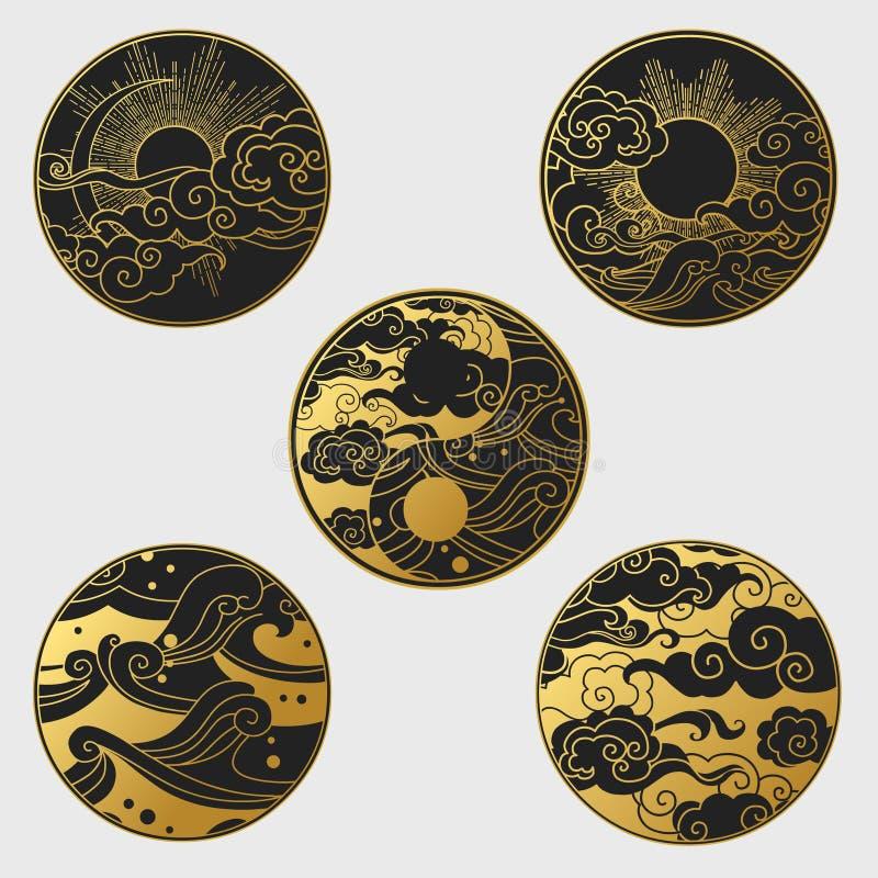 Sun y luna en el cielo sobre el mar Colección de elementos decorativos del diseño gráfico en estilo oriental libre illustration
