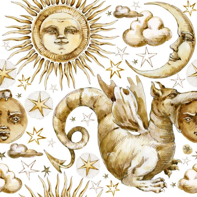 Sun y modelo inconsútil de la luna sistema de símbolos celestiales, sol, luna, estrella, dragón, eclipse del ejemplo de la acuare ilustración del vector
