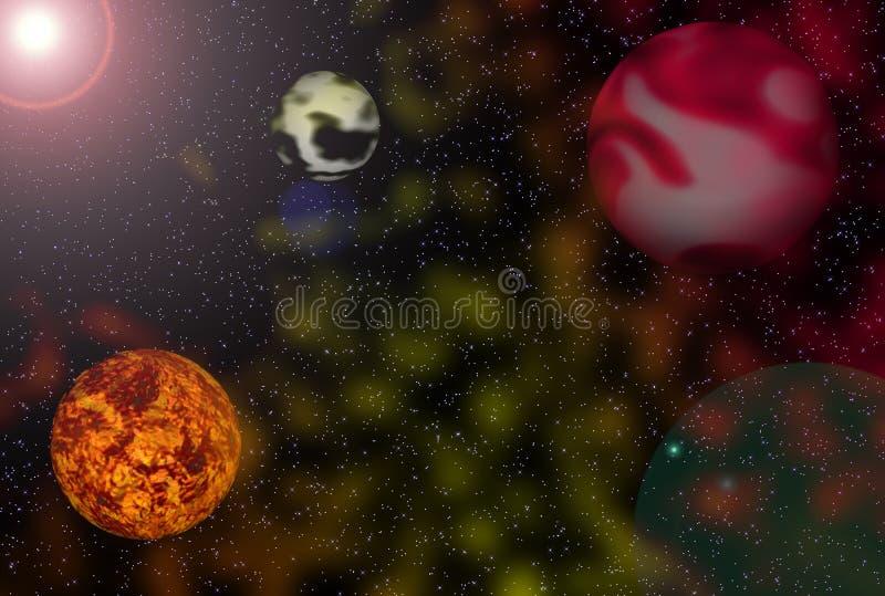 Sun y planetas stock de ilustración