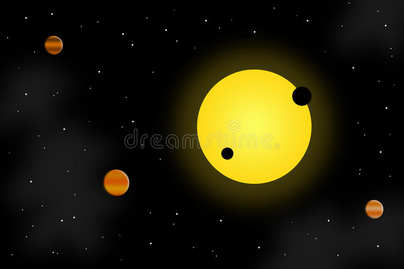 Sun y planetas ilustración del vector