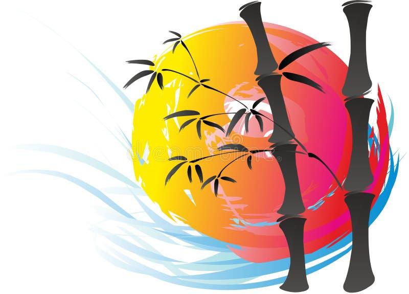 Sun y tallos del bambú ilustración del vector