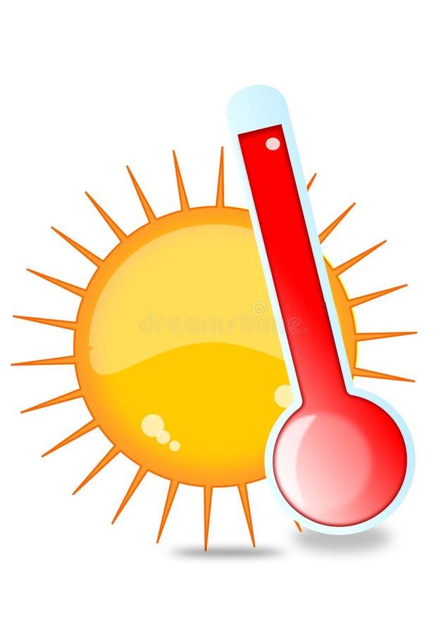 Sun y termómetro stock de ilustración