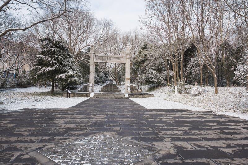 Sun Yat-sen-Mausoleum na de sneeuwval in Mafang royalty-vrije stock afbeeldingen