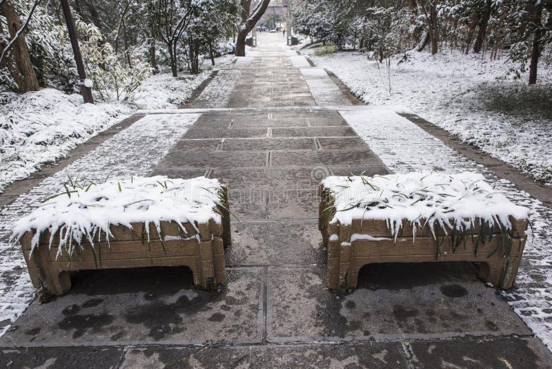Sun Yat-sen-Mausoleum na de sneeuwval in Mafang royalty-vrije stock fotografie