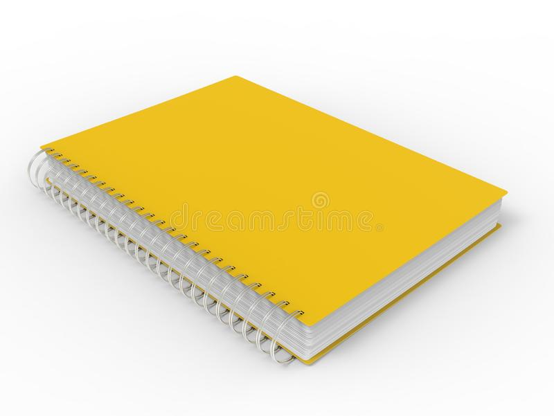 Sun yellow spiral binding notebook stock illustration