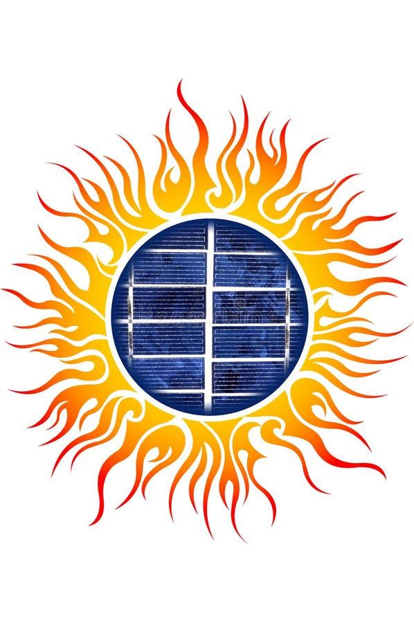 Sun-Zeichen mit Sonnenkollektoren stock abbildung