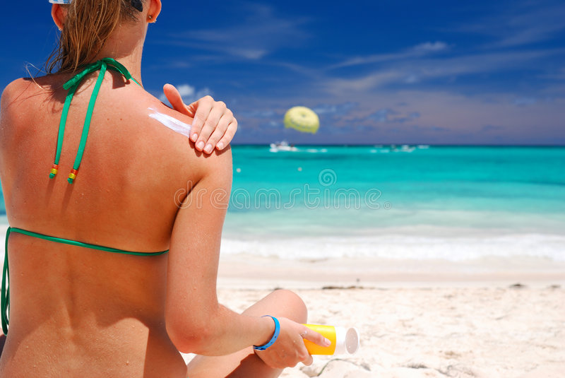 sunbath采取 库存照片