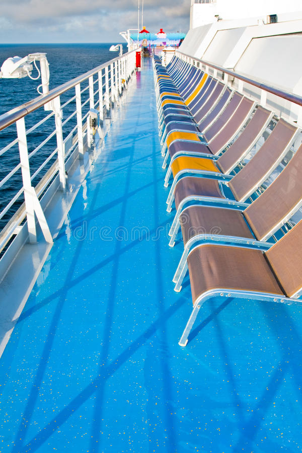 Sunbath Chairs On  Cruise Liner Royalty Free Stock Image