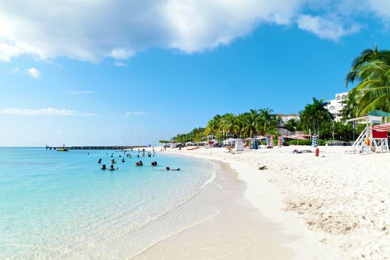 Sunbathers que apreciam um dia na praia imagem de stock royalty free