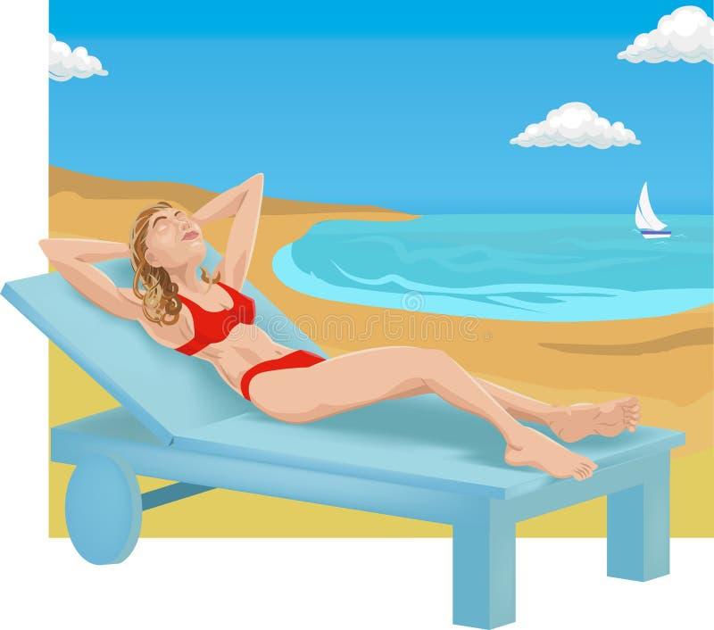 Sunbathing. A woman sunbathing on a beach stock illustration