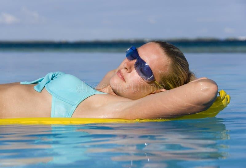 Sunbathing on vacation - Tahiti royalty free stock photography
