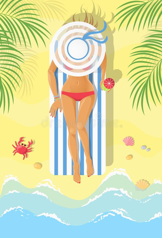 Sunbathing young woman on a chaise-longue vector illustration