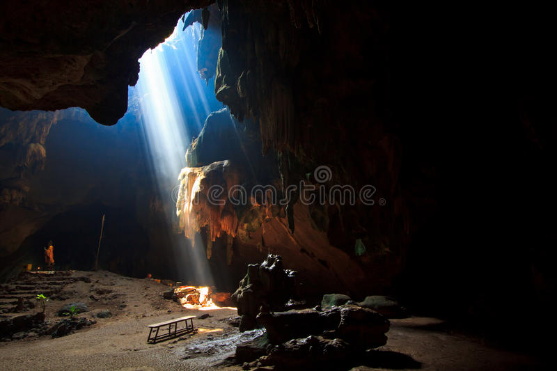 Download Sunbeam into the cave stock photo. Image of cave, nature - 33650832