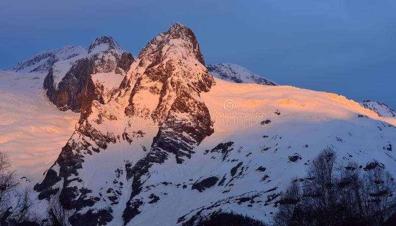 Sunbeam in mountains stock photo