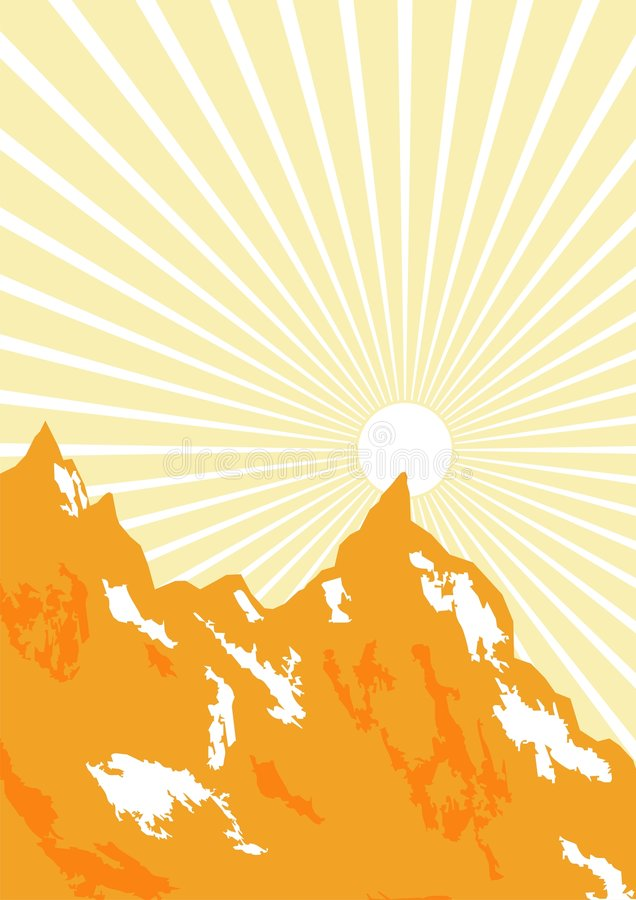 Download Sunbeam And Mountains Graphic Stock Vector - Image: 3481918