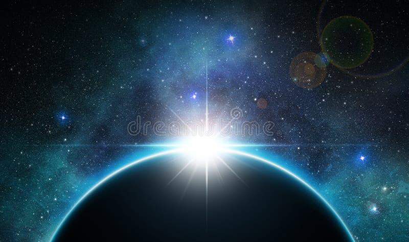 Sunbeam sopra il pianeta illustrazione di stock
