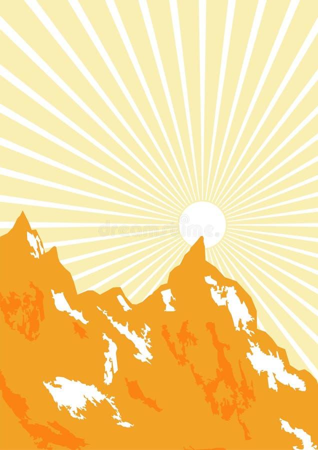 Sunbeam Und Berge Grafisch Lizenzfreie Stockfotos