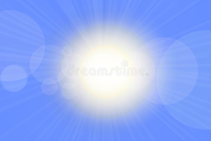 Sunbeams illustration. Cloudless blue sky with sunlight and flares stock illustration