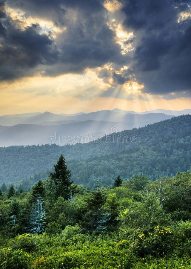 Sunbeams Light Rays Over Appalachian Blue Ridge. Sunbeams Light Rays Over Southern Appalachian Blue Ridge Mountains at dramatic summer sunset royalty free stock image