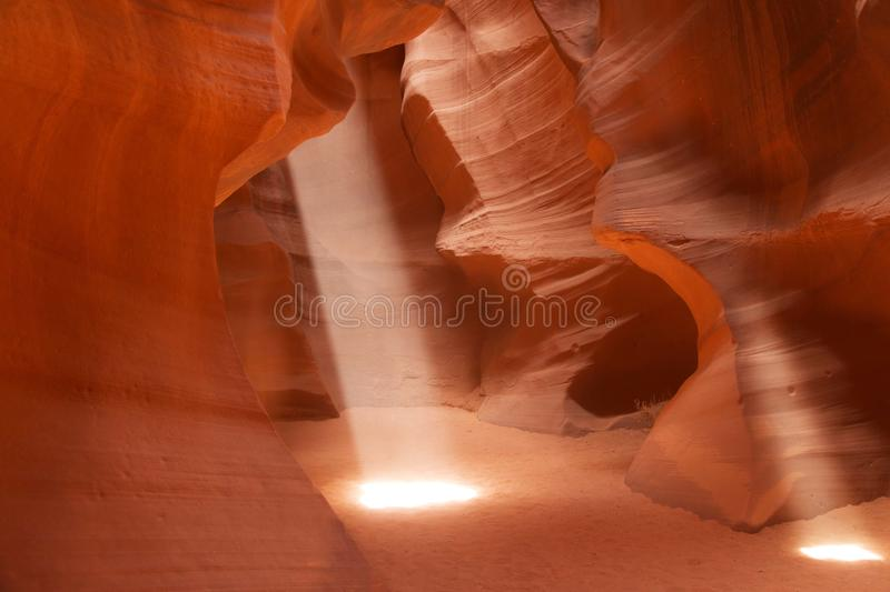 Sunbeams in Upper Antelope Canyon, Arizona, USA stock images