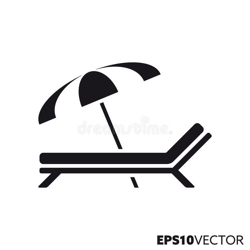 Sunbed e ícone do glyph do vetor do guarda-chuva de praia ilustração stock