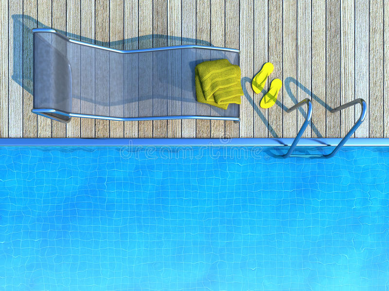Sunbed mit gelbem Tuch und Flipflops neben Swimmingpool stock abbildung