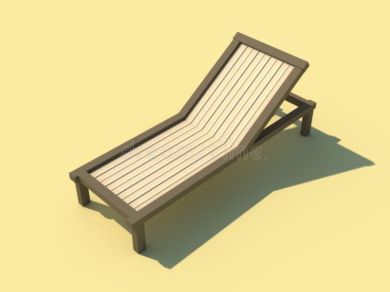Sunbed op gele 3D illustratie wordt geïsoleerd die als achtergrond vector illustratie