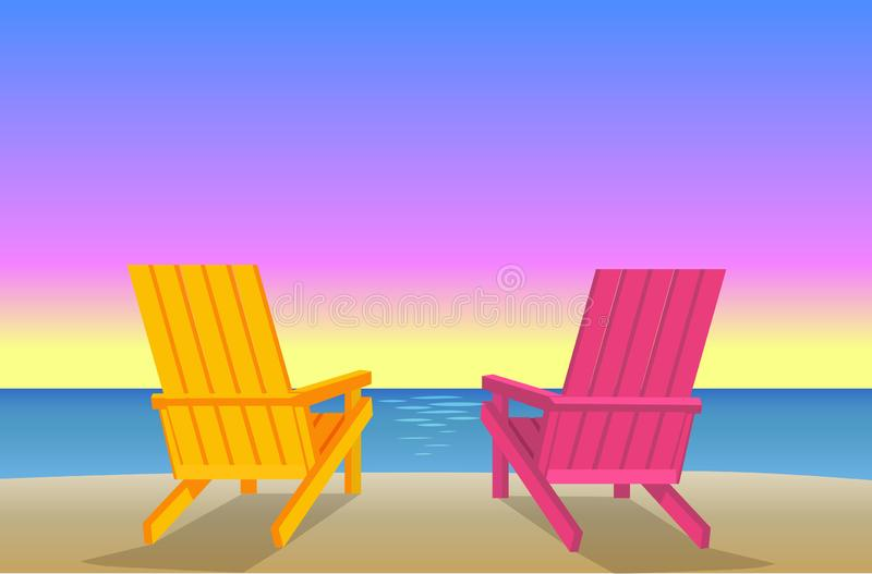 Sunbed op Strandpaar van chaise-Zitkamers Kustlijn vector illustratie