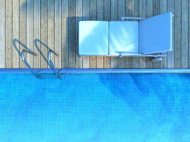 Sunbed in palmschaduw naast een zwembad stock illustratie