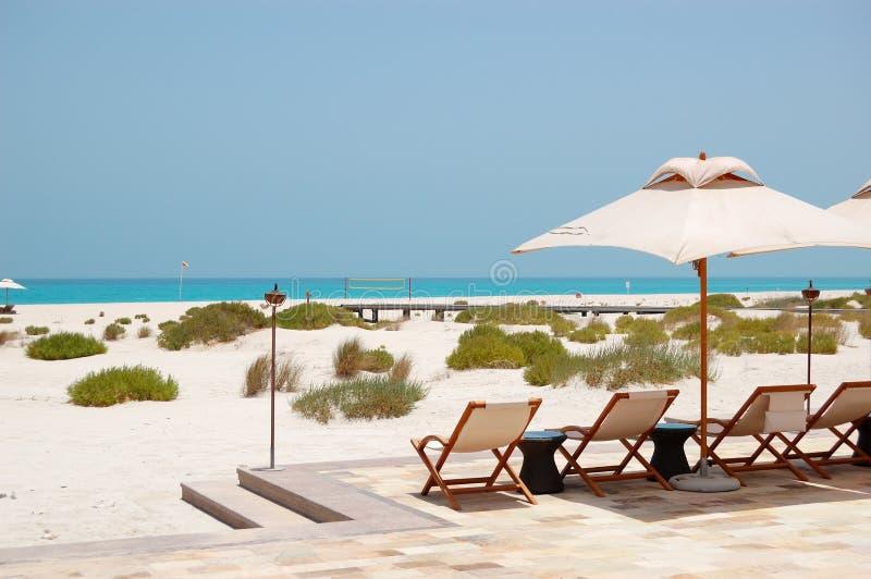 Sunbeds και ομπρέλες στην παραλία του ξενοδοχείου πολυτελείας στοκ φωτογραφίες με δικαίωμα ελεύθερης χρήσης