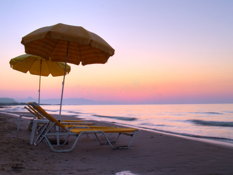 Download Sunbeds on the beach stock image. Image of sunbeds, greece - 6744407