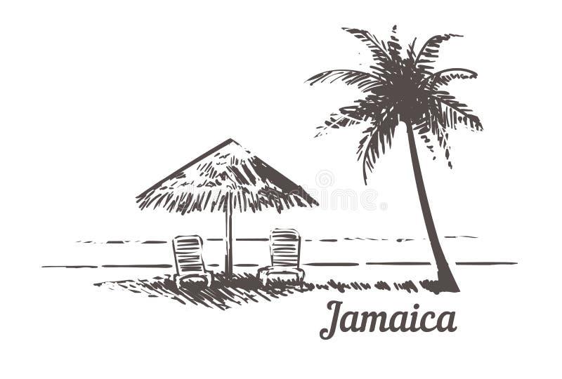 Sunbeds del bosquejo de Jamaica debajo del parasol de playa, Palm Beach Ejemplo exhausto del vector del vintage de la mano de Jam libre illustration