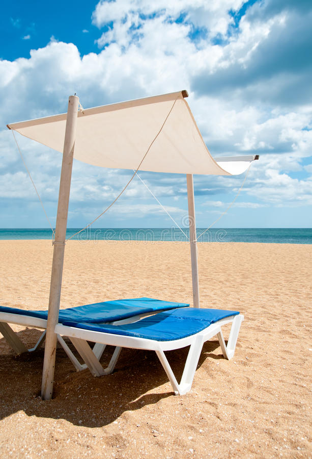Download Sunbeds on a beach stock image. Image of copy, sunbed - 29755813