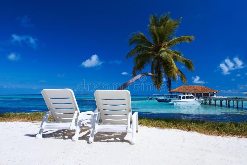 Sunbeds en la playa imágenes de archivo libres de regalías