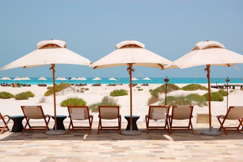 Sunbeds i parasole przy plażą luksusowy hotel zdjęcie royalty free