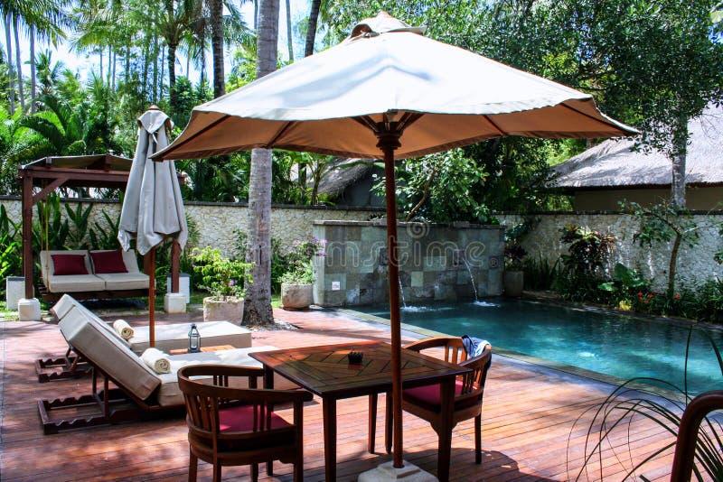 Sunbeds och paraplyer nära simbassängen och palmträd runt om den Seascape av Indonesien arkivfoto
