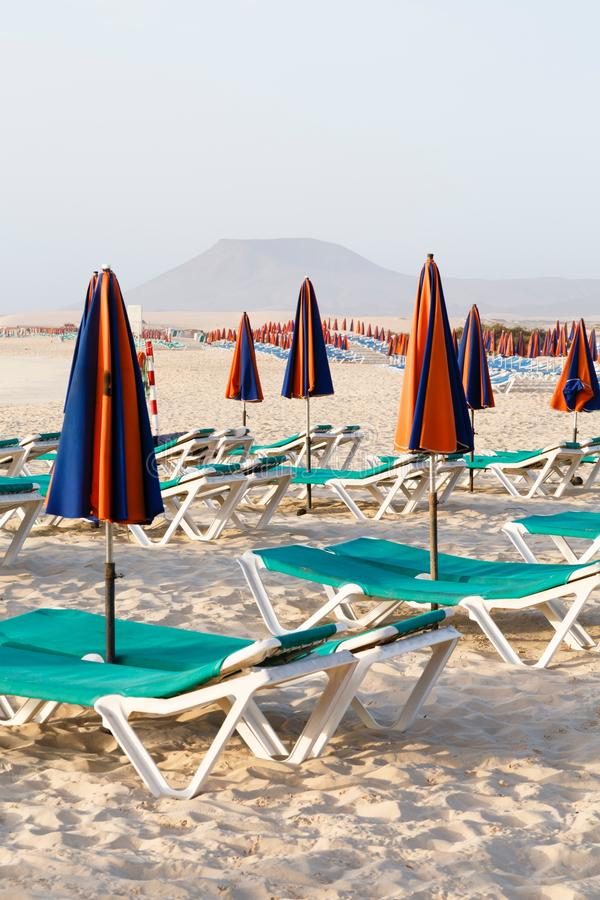 Sunbeds på strand arkivfoton