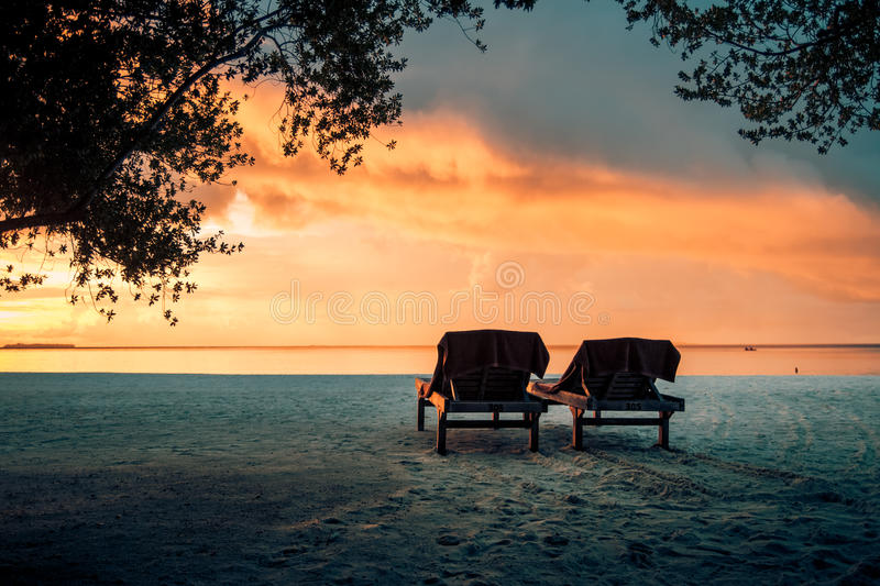 Sunbeds in sunset Tropical beach background. Crystal clear water and luxury water bungalows. Tropical tranquil background concept. Colorful style exotic scene stock photos