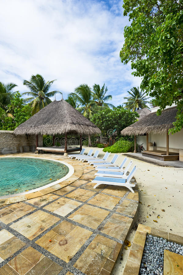 Download Sunbeds Beside The Swimming Pool In Resort Stock Image - Image: 16420609