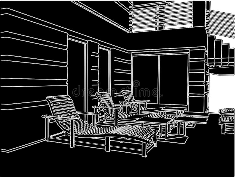 Sunbeds On The Teracce Relax Zone Of House Vector