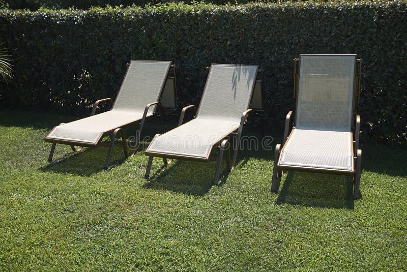 Sunbeds w ogródzie zdjęcie stock
