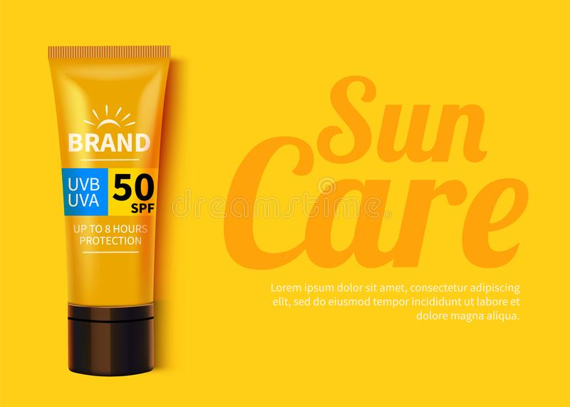 Sunblock ads template, sun protection cosmetic products design with moisturizer cream or liquid. royalty free illustration