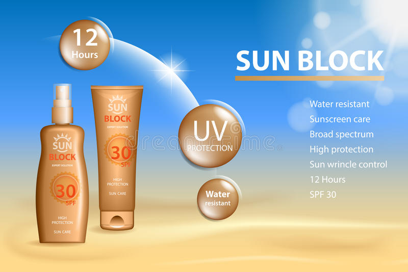 Sunblock ads template, sun protection cosmetic products. Sunblock cream and Tanning oil spray bottle. 3D vector royalty free illustration