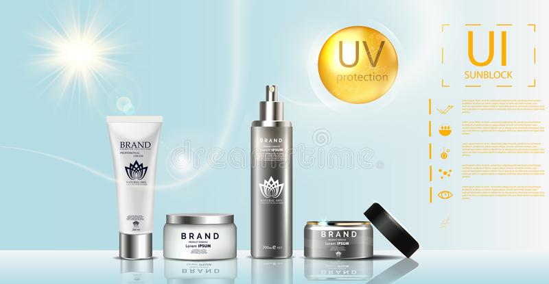 Sunblock ads template, sun protection, sunscreen and sunbath cosmetic products design face and body lotion vector illustration