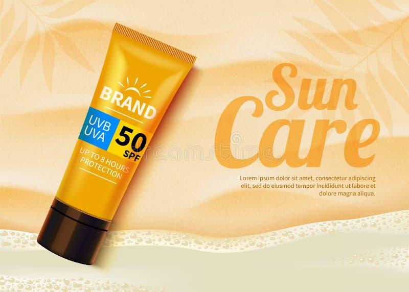 Sunblock-Anzeigenschablone, kosmetische Konzeption des Produkts des Sonnenschutzes mit Feuchtigkeitscremecreme oder Flüssigkeit K vektor abbildung