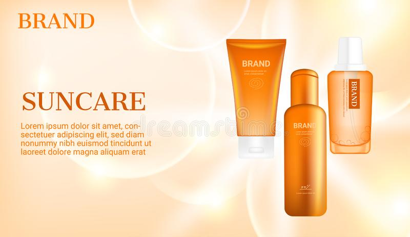 Sunblock products with big bubbles on light radiant background.  stock illustration